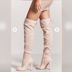 bcff3f97ccb shoespie Shoes - Light Pink over the knee heeled suede boots